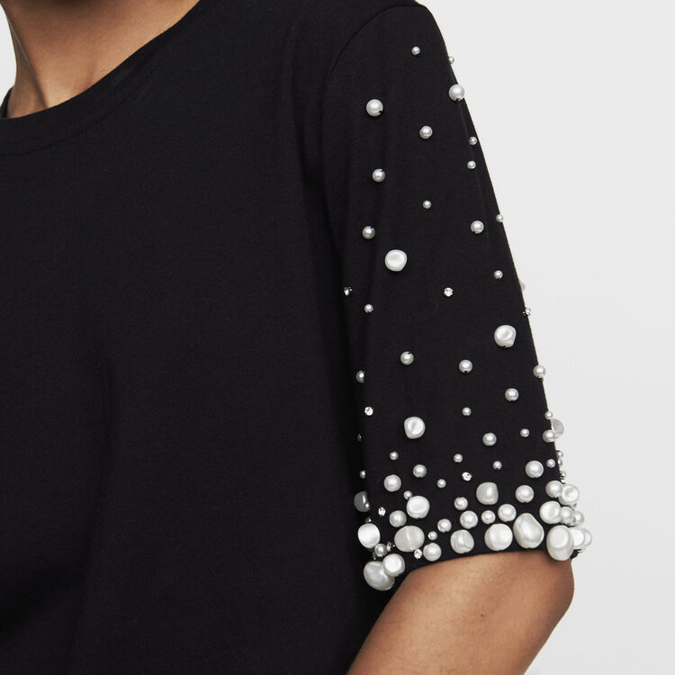 Cotton T-shirt with pearls : Ready to wear color Black 210