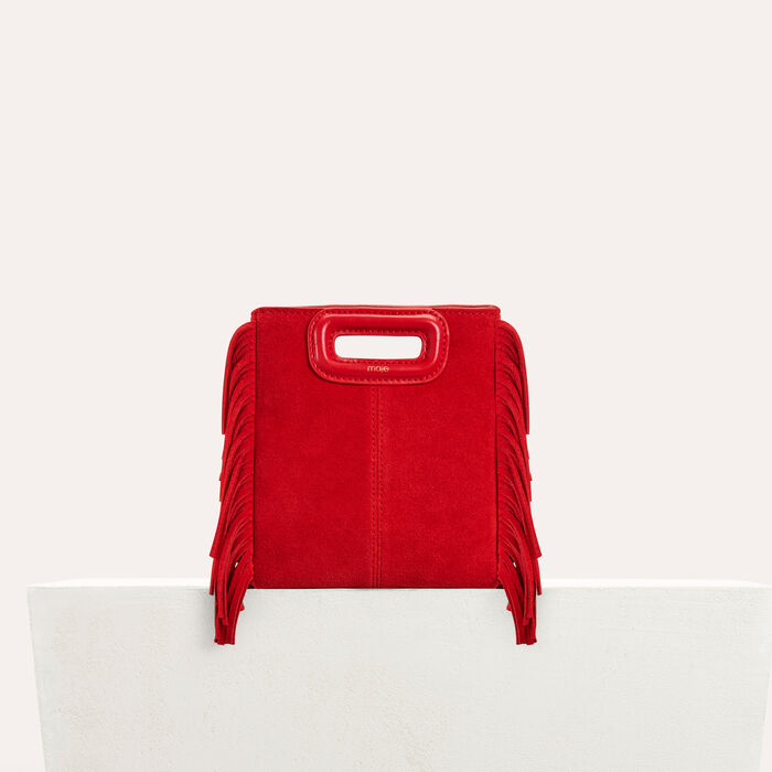 Mini M bag with suede fringe : M Mini color Red