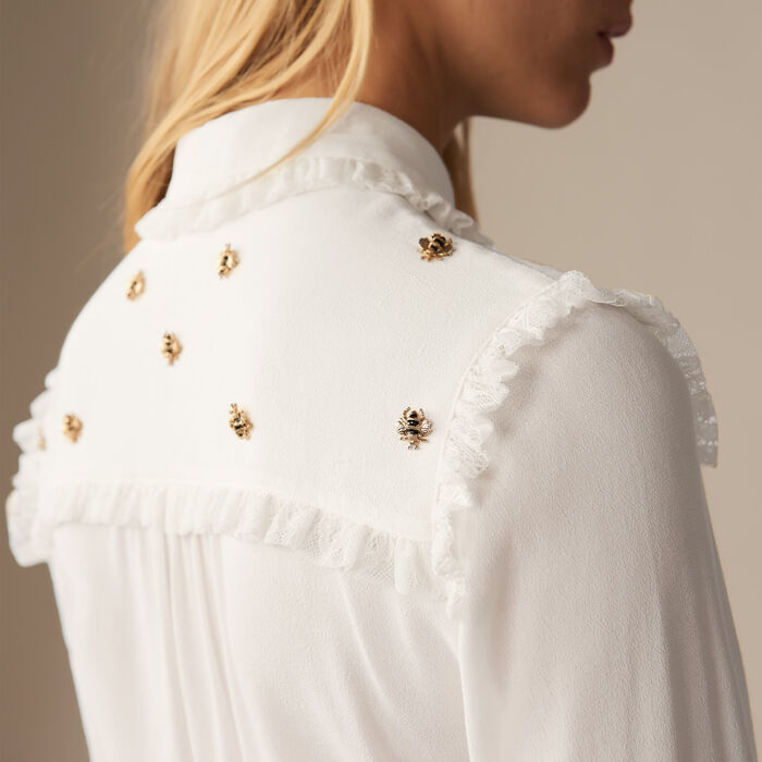 Shirt with embroidered bees : Shirts color White