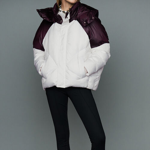 Cropped bicolor down jacket : Ready to wear color White