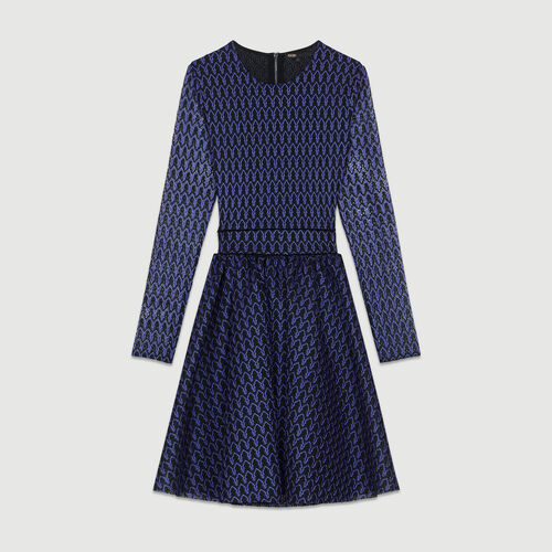 Skater skirt in basket knit : Dresses color Purple