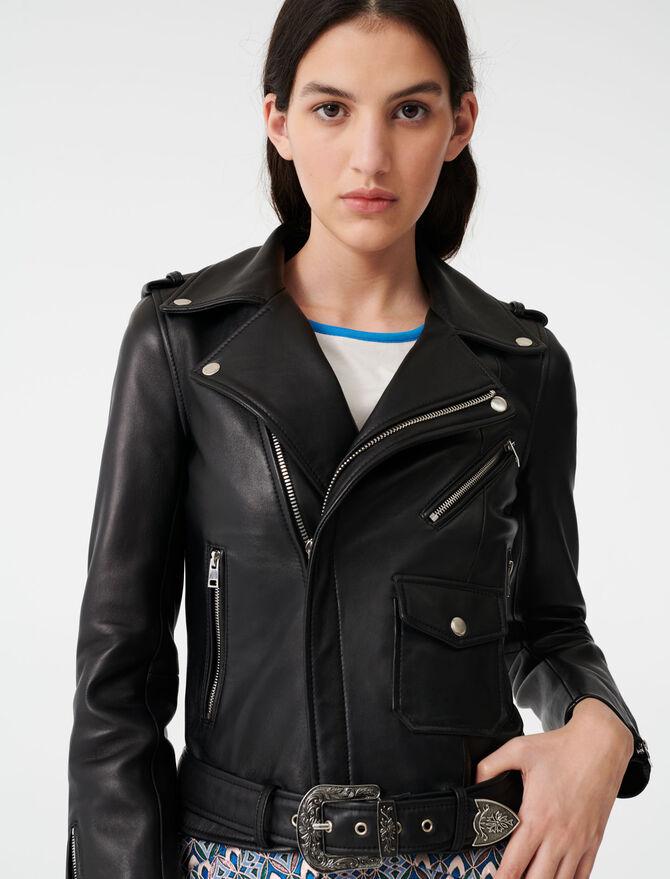 Leather Western jacket with belt -  - MAJE