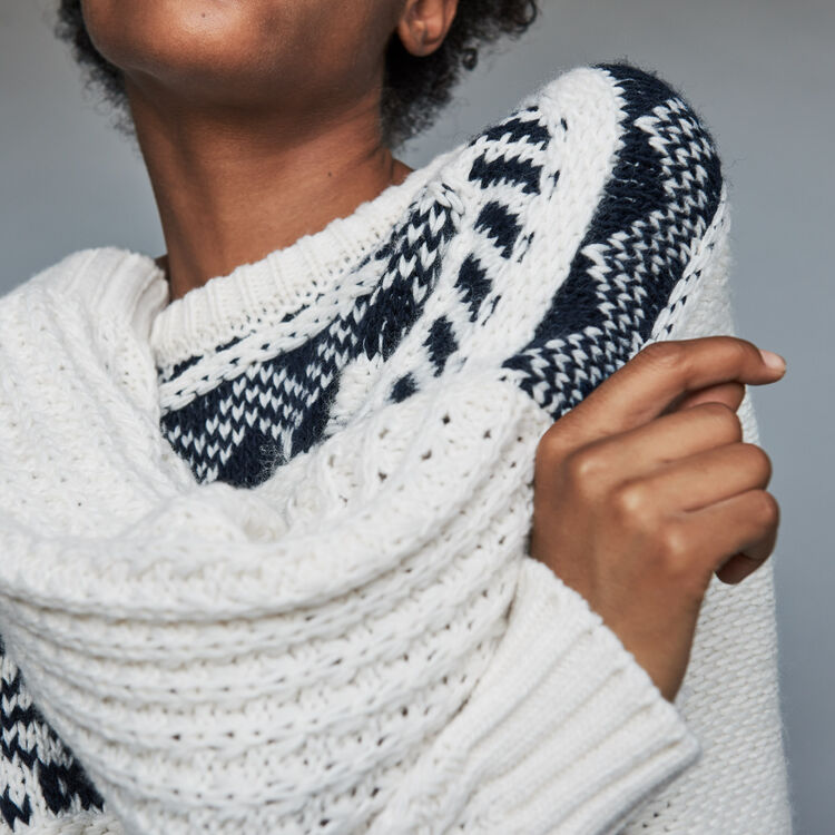 Jacquard knit sweater : Ready to wear color ECRU