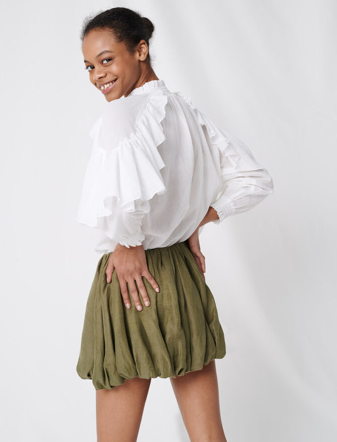 Cool cotton blouse with ruffles -  - MAJE