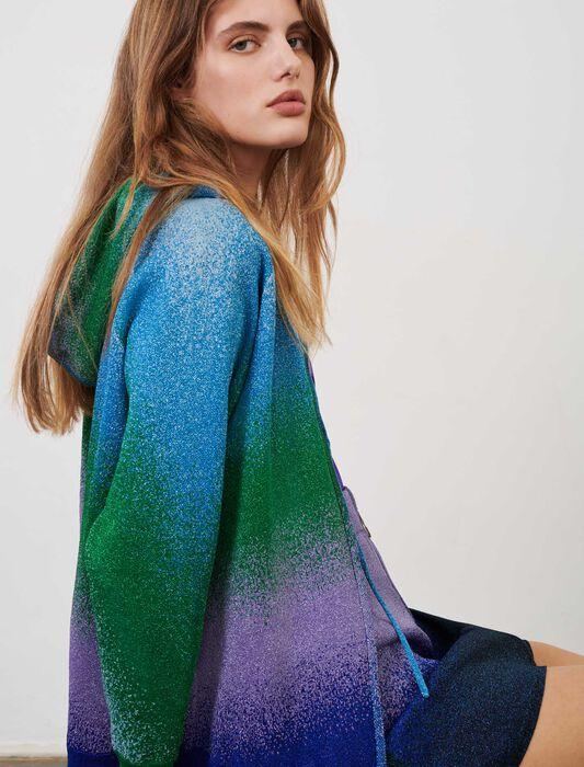 Lurex knit hooded cardigan : Knitwear color Ocean