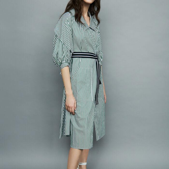 Deconstructed striped shirt dress : Dresses color Stripe