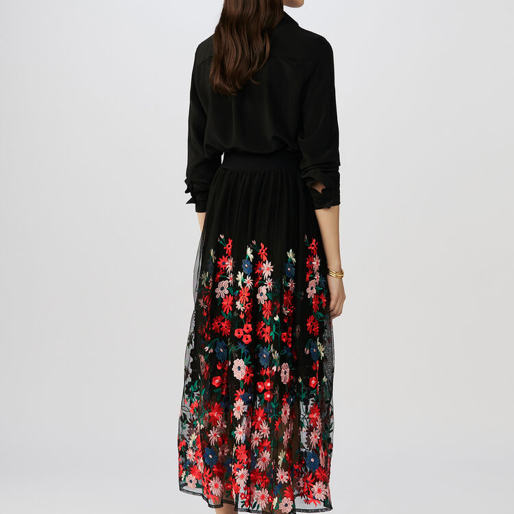 Embroidered tulle slip : Skirts & Shorts color Black 210