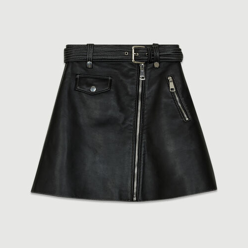 Leather A-line skirt : The Essentials color Black 210
