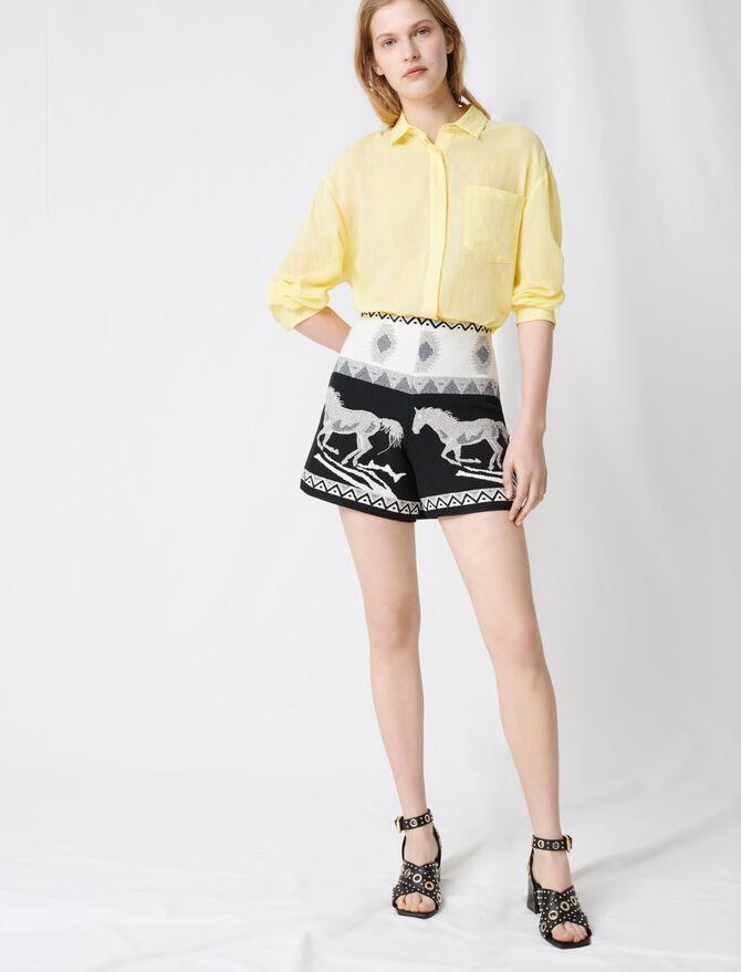 Jacquard shorts with horse embroidery - Skirts & Shorts - MAJE