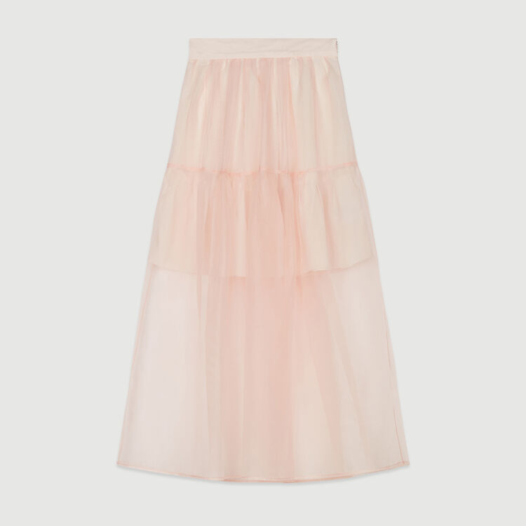 Long organza-style skirt : Skirts & Shorts color Mandarine
