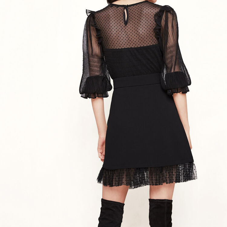 Asymmetric skirt with ruffle : Low Prices color Black 210