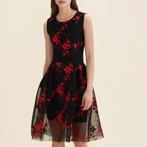 Tulle sleeveless embroidered dress  : Dresses color Black 210