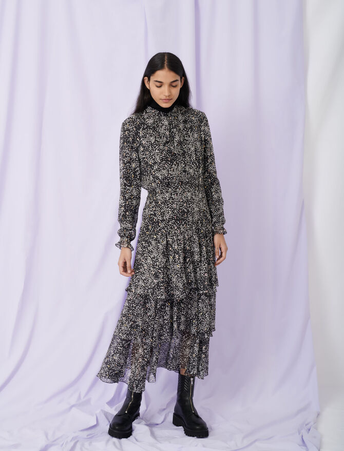 Printed lurex silk dress with ruffles - Dresses - MAJE