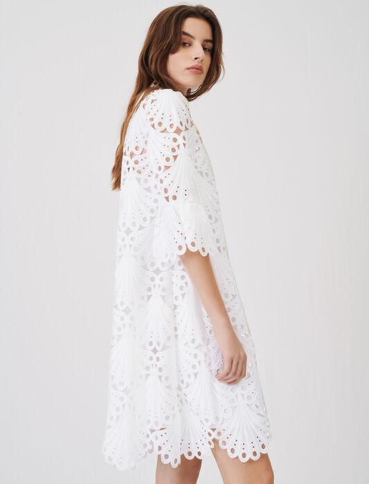 Straight cut guipure lace dress : Dresses color White