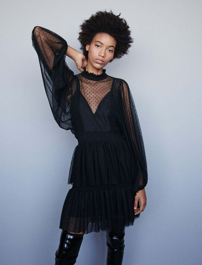 Plumetis tulle dress with ruffles - SoldesFR_Robes - MAJE