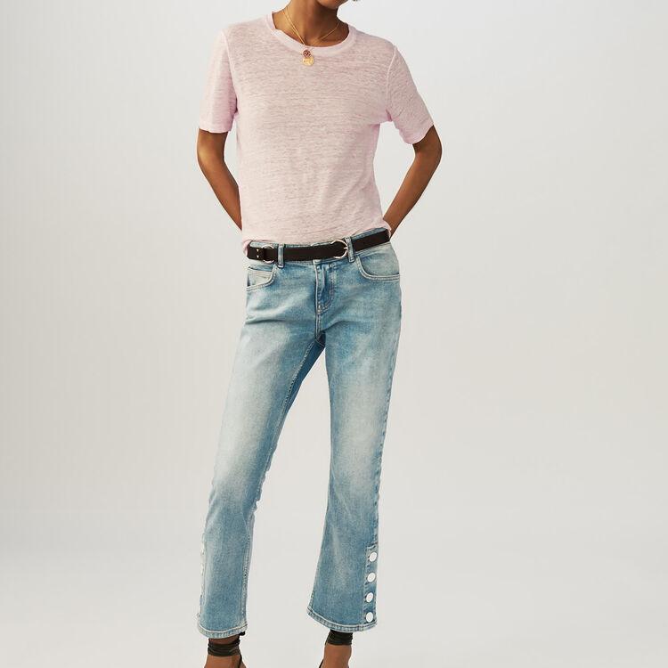 Loose linen top : T-Shirts color LILAS