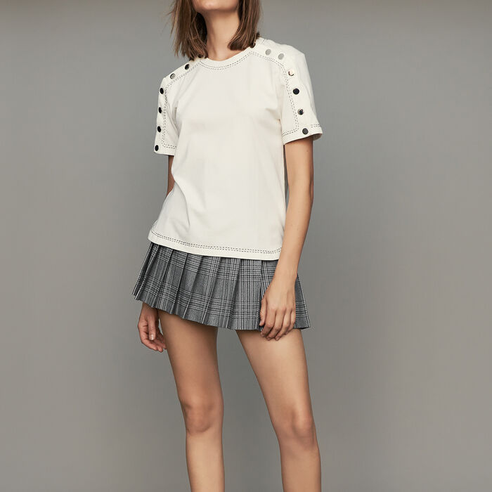 Cotton T-shirt with pressed buttons : T-Shirts color White