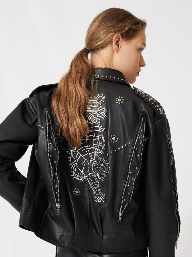 Western leather studded jacket -  - MAJE