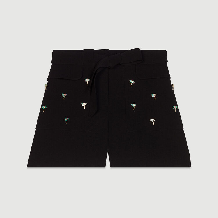 Crepe shorts with palm jewels : Skirts & Shorts color Black 210