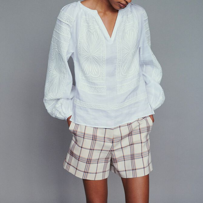 Blouse with guipure - Tops - MAJE
