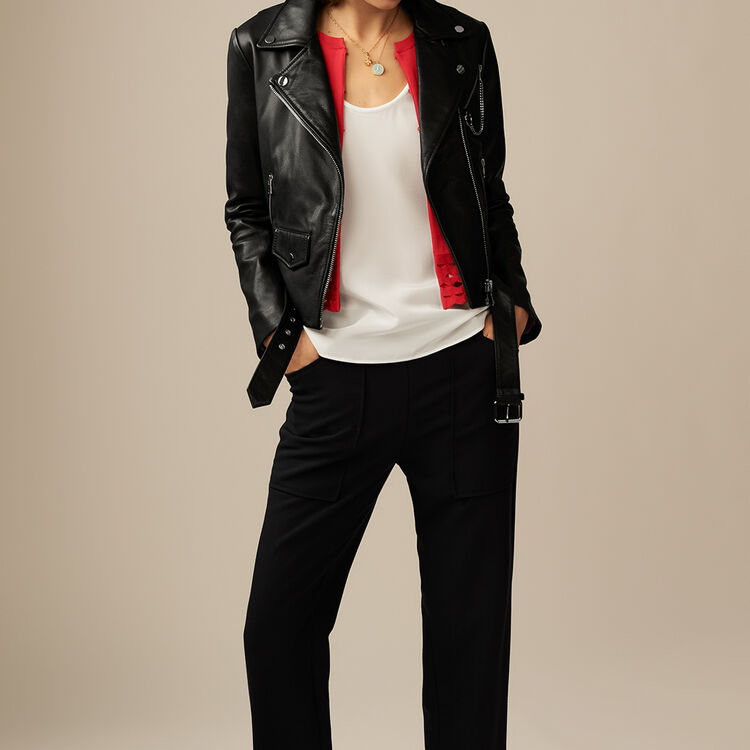 Leather biker jacket : Jackets color Black 210