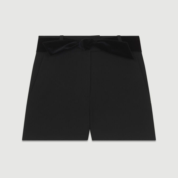Fancy shorts with satin belt : Skirts & Shorts color Black 210