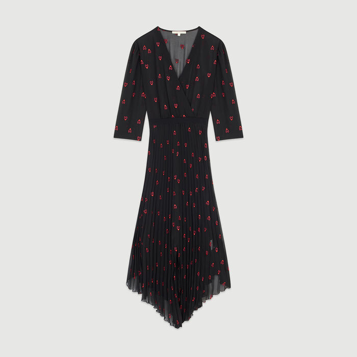 Pleated dress with heart embroidery : New in : Summer Collection color Black 210