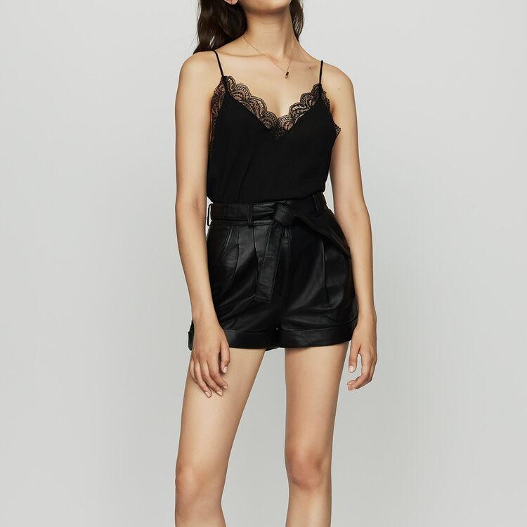 Oversized leather shorts : Leather color Black 210