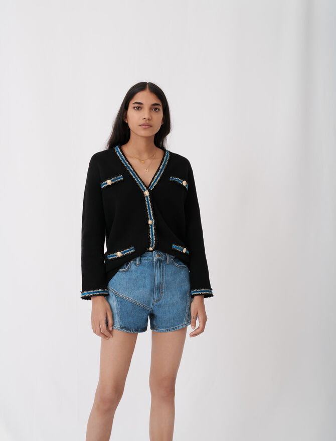 Knitted cardigan with velvet - Ready to wear - MAJE