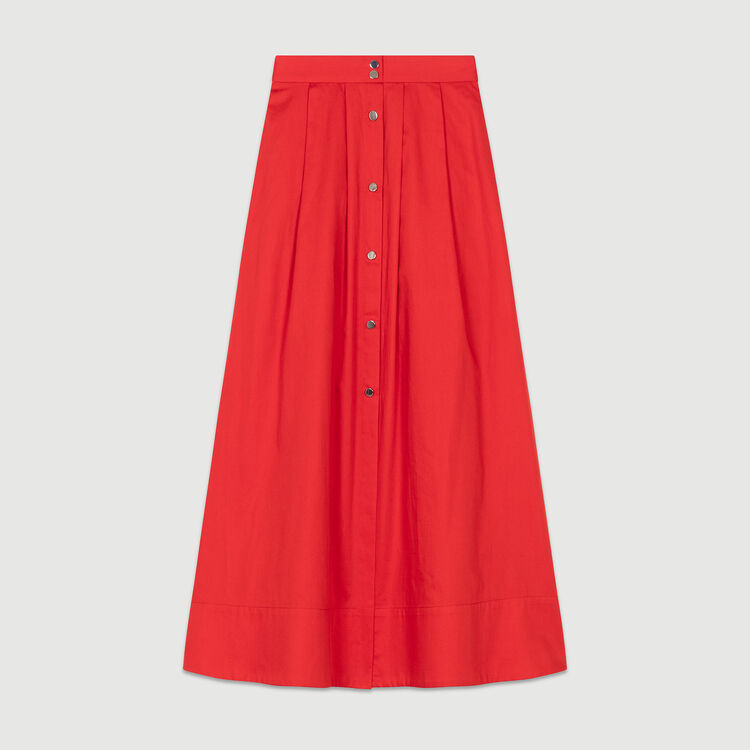 Long buttoned cotton skirt : Skirts & Shorts color Red