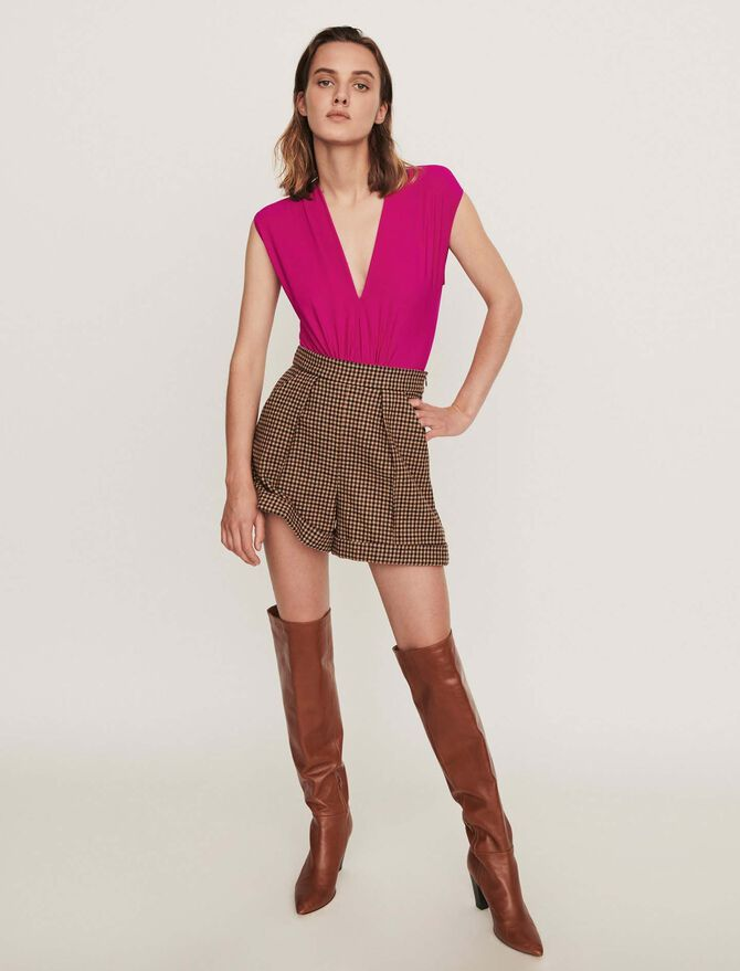 Stretch draped bodysuit - SoldesFR_Tops_chemises - MAJE