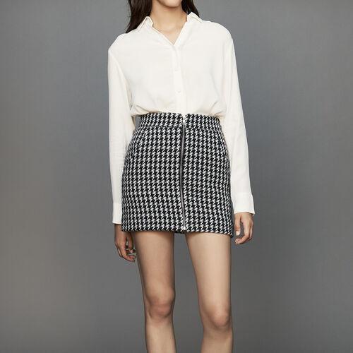 Short houndstooth skirt : Office girl color Jacquard