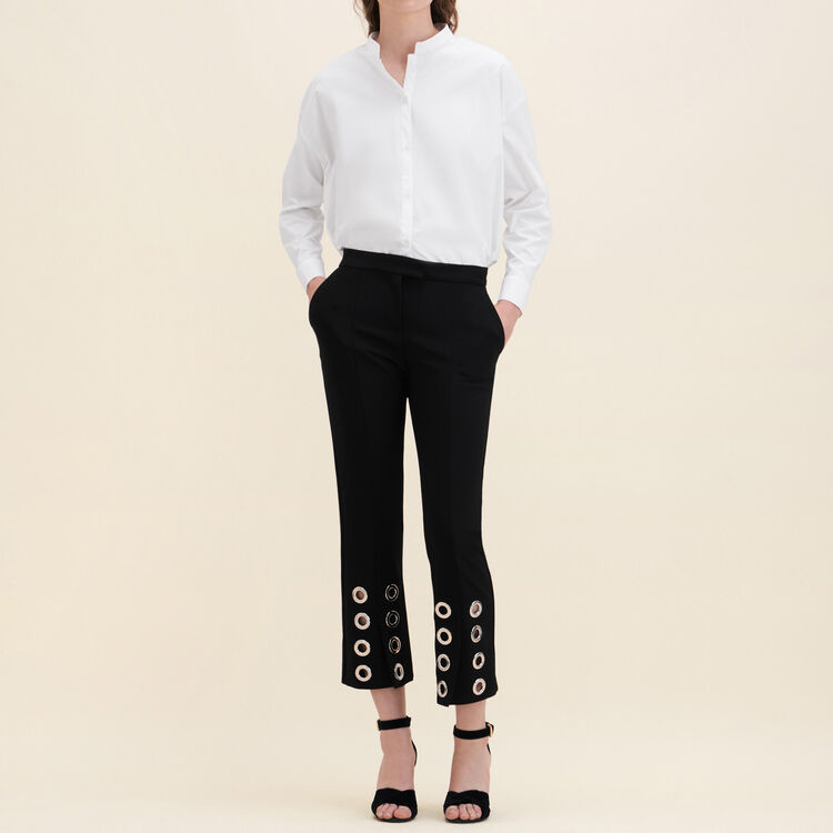 Straight-cut crêpe trousers with eyelets - 70% off - MAJE