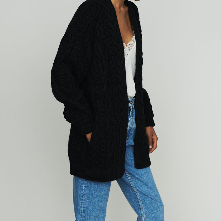 Oversize cardian in twisted mesh knit : Knitwear color Black 210