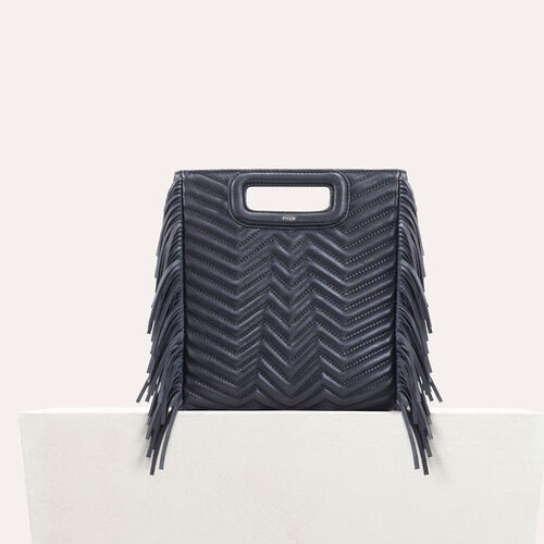 Quilted leather M bag : Bags color Navy