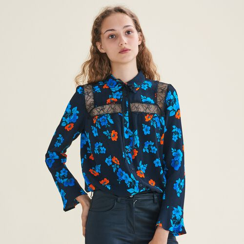 Printed blouse with lace : Shirts color PRINTED