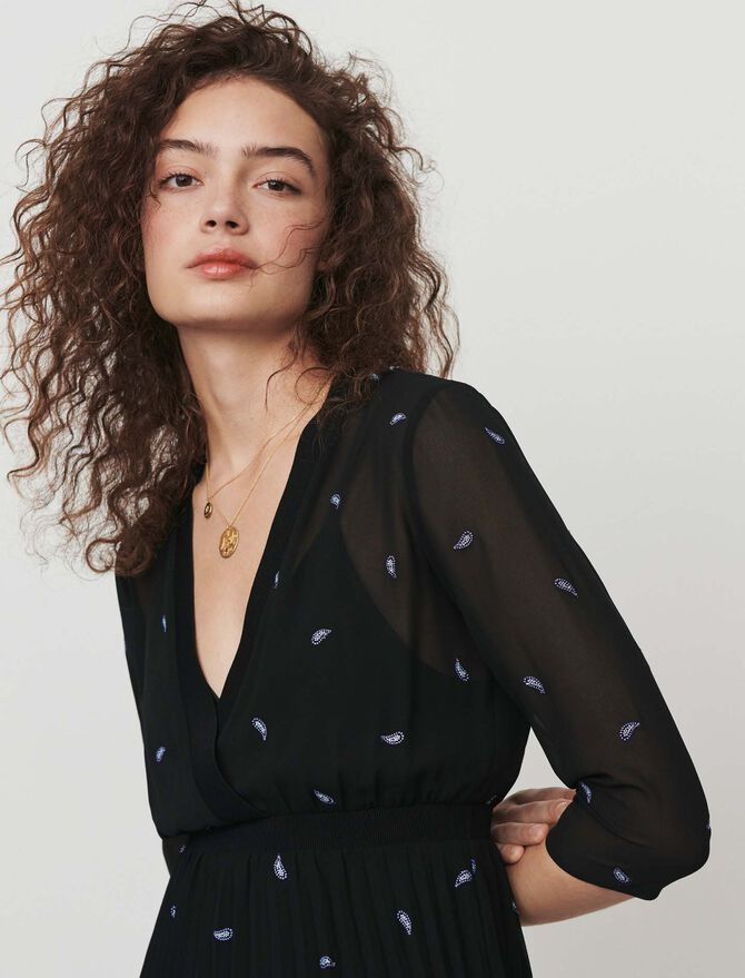 Pleated dress with embroidered cashmere - Dresses - MAJE