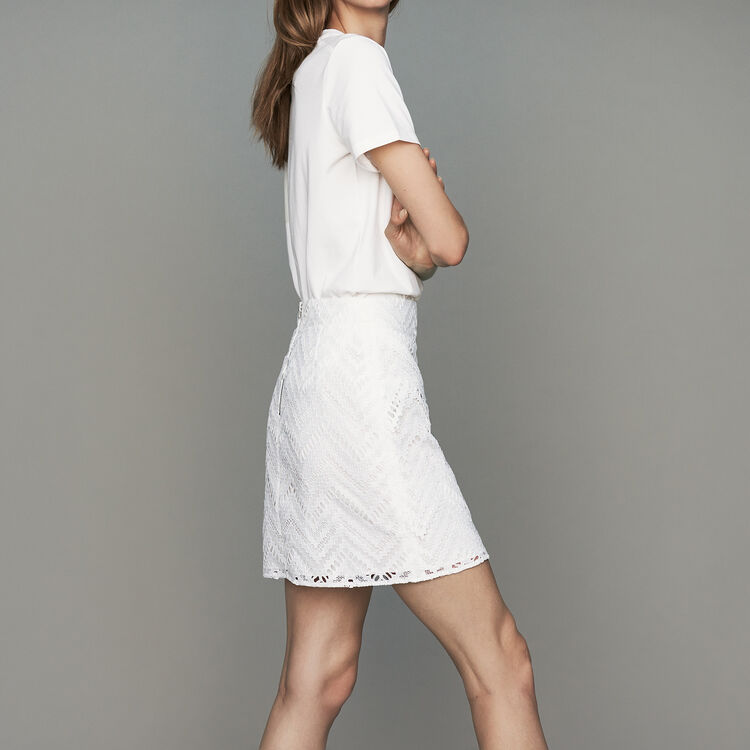 Short skirt with lace detailing : New Collection color White