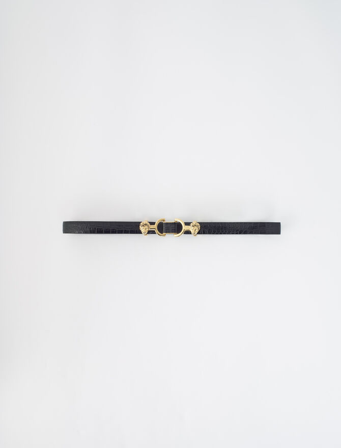 Embossed leather and lion horsebit belt - Star pieces - MAJE