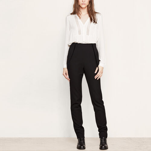 High-waisted trousers with thin braces : Trousers & Jeans color Black 210