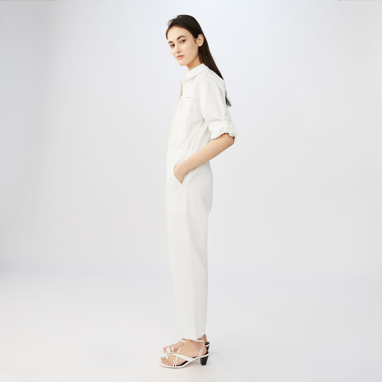 Cotton factory-style jumpsuit : Jumpsuits color ECRU