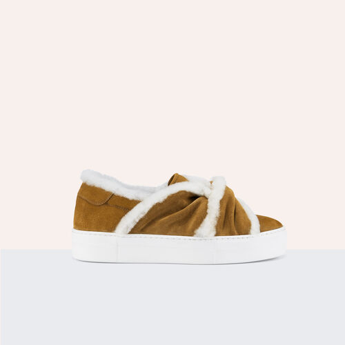 Suede trainers with shearling bow - Shoes - MAJE