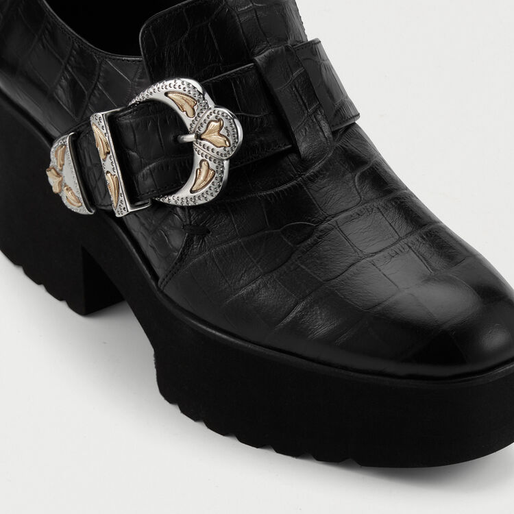 Leather derby shoes with buckle : Flat shoes color Black 210