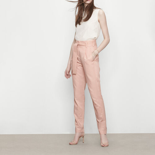 Carrot trousers with belt : Trousers & Jeans color Nude