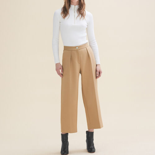 Wide tailored trousers : Trousers color Camel
