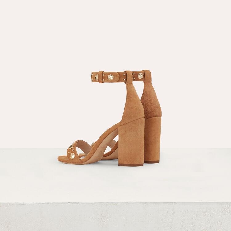 Suede heeled sandals : Slipper color Camel