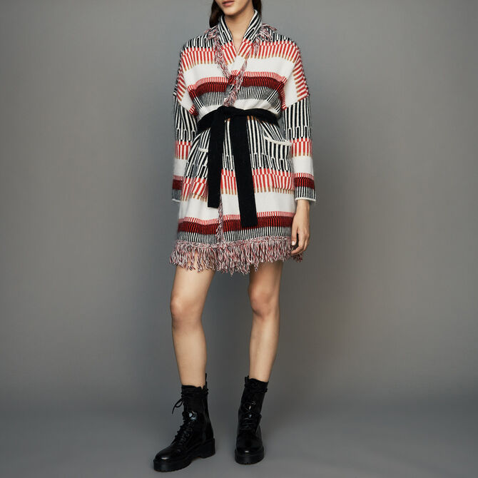 Cardigan in wool blend with fringes - See all - MAJE