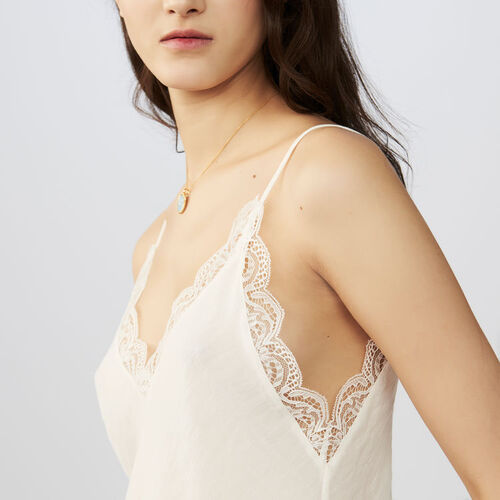 Crepe camisole with lace : Ready to wear color Black 210