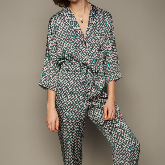 Printed satin jumpsuit : Trousers color PRINTED