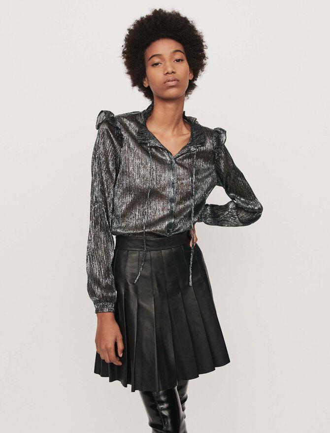 Lurex ruffled shirt - SoldesFR_Tops_chemises - MAJE